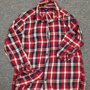 GAP men's long sleeve flannel shirt - medium, red
